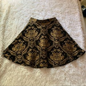 Chicwish black and gold midi circle skirt